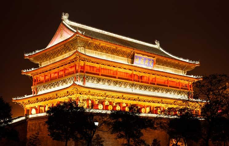 Der-historische-Trommelturm-in-Xi'an