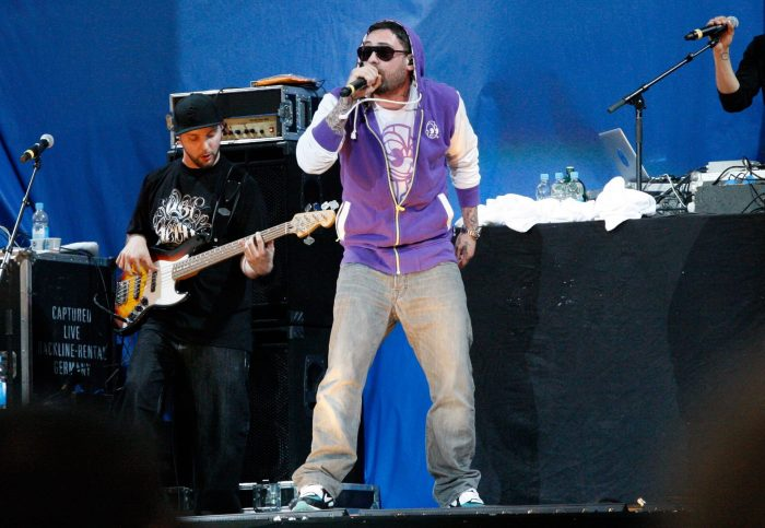 Der deutsche Rapper Sido steht am 04. Juni 2011 im Rahmen von Mario Barths Stadiontour in der Frankfurter Commerzbank-Arena auf der Bühne.